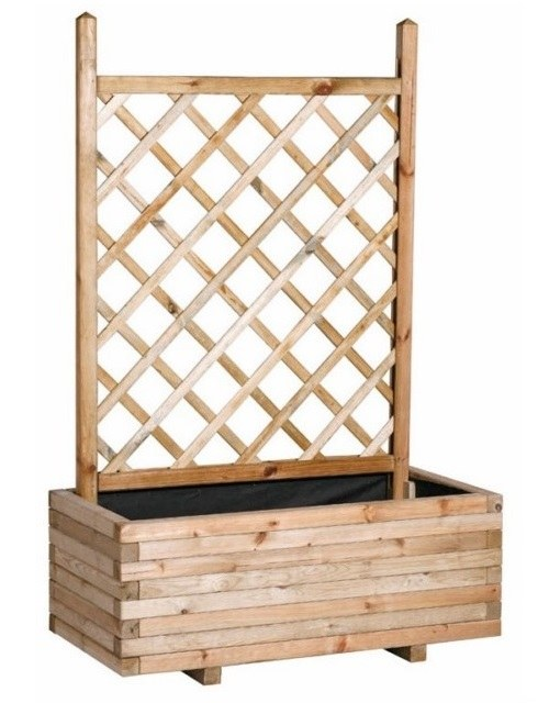 Jardinera rectangular con celosia recta
